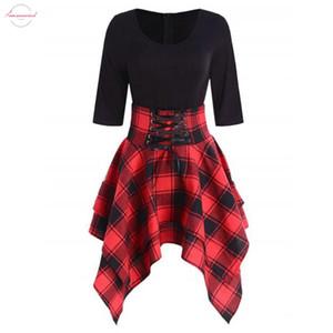 여름 세련된 격자 무늬 셔츠 여성 캐주얼 O 목 레이스 업 캐주얼 타탄 체크 무늬 비대칭 비치 드레스 미니 드레스 Vestido 인쇄하기