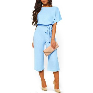 New Elegant Office Ladies Jumpsuits Womens Short Sleeve Rompers Jumpsuit Fashion Summer Lace Up Wide Leg Pants Overalls Bodysuit