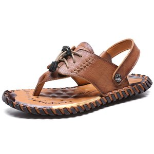 Genuine Leather Men's Sandals Open Toe Slip On Fashion Casual Shoes Men Mens Slippers Roman Summer Beach Sandals Plus Size 38-48