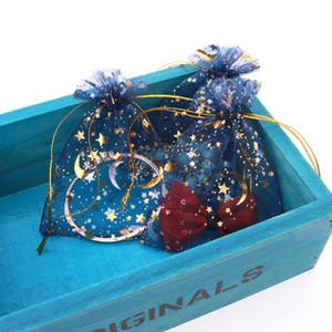 100pcs 9X12cm bleu marine sac de bijoux cadeau de mariage étoile lune sac en organza sac de bijoux embrayable emballage d'affichage bijoux pochette