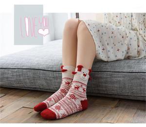 Veau mi Casual Bonneterie femmes Sock avec des cerfs de Noël Cartoon Motif Designer flocon de neige Imprimer Donna Bas