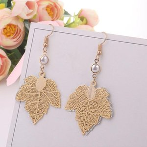 Fashion Hot Sale Hollow Gold Silver Color Leaf Clip on Earrings Non Piercing for Women pearl Earring gift Jewelry