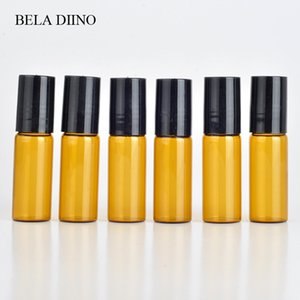 5PCS 5ml Transparent Amber Glass Mini Essential Oils Roll on Bottles Perfume Sample Vial Containers Stainless Steel Roller Ball