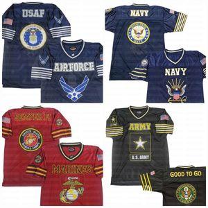 US ARMY MARINES MARINE Jersey de football personnalisé Nom Stitched Stitched Numéro Fas Expédition Hight Qualité
