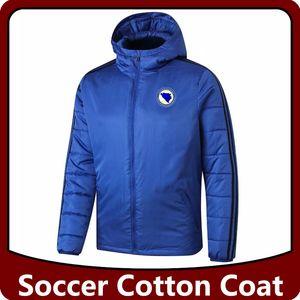 Bosnia y Herzegovina algodón de fútbol abajo cubre las chaquetas, Bosnia y Herzegovina de fútbol con capucha chaquetas de algodón chándal Operando chaquetas