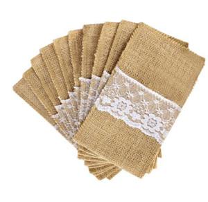 Soporte de cubiertos de arpillera Vintage Shabby Chic yute encaje vajilla bolsa embalaje tenedor cuchillo bolsillo fiesta decoración DHL gratis