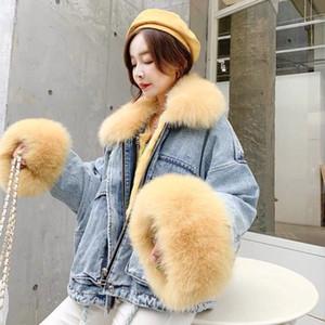 NOVO 2019 inverno veludo denim grossa jaqueta feminina gola grande pele coreana locomotiva coat cordeira estudante casaco curto XXXL 4XL Y200101