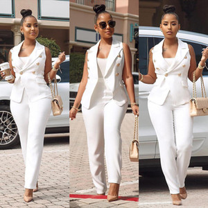 White Color Office Lady fashion 2 piece set summer turn down collar sleeveless jackets and white pencil pants Two PCS women outfits
