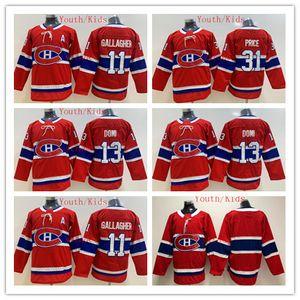 2020 Gioventù Montreal Canadiens Hockey maglie Bambini 31 Carey Price 11 Brendan Gallagher 13 Max Domi Boys Home Red Hockey su ghiaccio Jersey il regalo di natale
