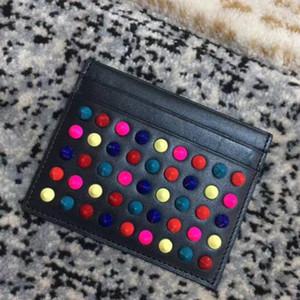 Las explosiones carpeta caliente de la moda de cuero negro rojo azul bolso de la tarjeta de perlas de uñas de color púrpura para el bolso bolso de la tarjeta de visita tarjeta de tendencia de hombres y mujeres