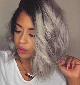 Moda Ombre cinza prata bodywave peruca dianteira do laço Glueless Longo Natural Virgem Negra Grey perucas de cabelo humano Para fasihion Mulheres