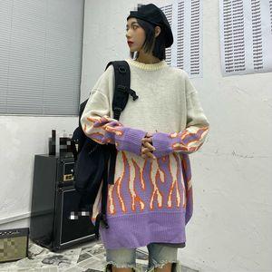 New Flame jacquard suéter de las mujeres de punto Otoño Invierno 2020 de gran tamaño suéter géneros de punto de manga larga del O-cuello Puentes y jalar