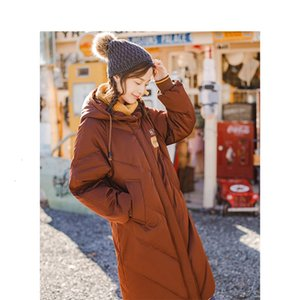 INMAN con cappuccio stampa signore di svago femmina giovane inverno lungo dell'anatra giù in pelle cappotto caldo donne moda giacche OvercoatMX190924
