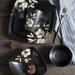 In stile giapponese dipinta a mano piatto in ceramica nero stoviglie Hibiscus Fiore Stampato Piazza Bowl Japanese Restaurant Piatti Piatto Coppa display