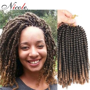 Nicole 8 Inch Spring Twist Hair Crochet Braids Black Ombre Brown Hair Extensions Synthetic Kinky Curly Twists Beauty Hair Free Shipping
