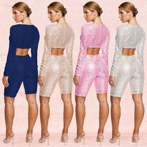 Fashion Women 2 Piece Set Sexy Sequins Long Sleeve Short Jumpsuits Women Tracksuits