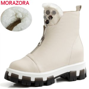 MORAZORA 2020 New Full genuine leather ankle boots women zipper nature wool warm winter boots ladies shoes cowhide snow boots