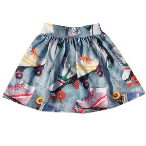 nice girls Skirt Spring Autumn Fashion Cute Roller skating print Skirt Princess Children Skirt 2-12Y