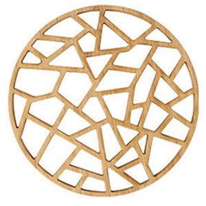 Table Placemat Rustic Bamboo coaster Hollow Round Out Plate Pad Hot Insulation Tea Cup Pot Mat Vintage Artistic Kitchen Accessory Deco