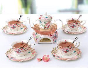 Chinese Tea Set porcelana de alta temperatura Resistência vidro Bule com 4 pessoas copos de cerâmica e presente de casamento Pires