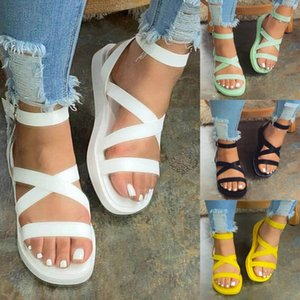 Sandals Mid Heel Women Buckle Open Round Toe Casual Ladies Soft Bottom Platform Shoes For Zapatos Mujer D30