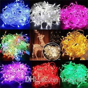 سلاسل الصمام أضواء عيد الميلاد مجنون بيع 10M / PCS 100 سلاسل الصمام الديكور الخفيفة 110V 220V لحضور حفل زفاف أدى الإضاءة عطلة