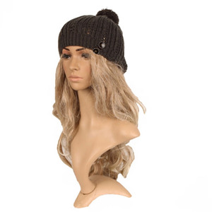 New Arrivals big Sale Lady Girl Women Cold Warm Winter Fur Knitted Hat Slouchy Beanie Cap Warm Hat Stretchy kintted Solid Soft Free Shipping