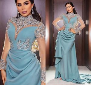 Arabie Saoudite Formal longues Robes Sheer Manches longues Paillettes Beaed Robe du soir Col haut arabe Femme Occasion spéciale Robe AL3173