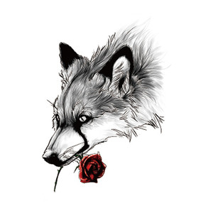 50 stücke Wolf Tattoo Aufkleber Lion King Tiger Gefälschte Tätowierung Temporäre Wasserdichte Männer Jungen Schulter Arm Brust Zurück Große 210x148mm