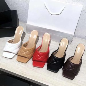 moda acolchada sandalia de cuero acolchada mulas con una suela de sandalia de estiramiento cuadrado diapositivas de diseño 9cm origen paquete tradingbeare945 #