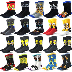 Persönlichkeit Neuheit-lustige Cartoon-Muster-Socken Herren-New 2019 Autumn Happy Socks Harajuku Hip Hop gekämmte Baumwolle Socken