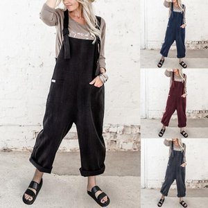 40# Women Casual Loose Baggy Jumpsuit Solid O-neck Camisole Rompers Playsuit Casual Long Jumpsuit Rompers Womens Combinaison