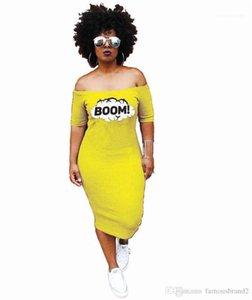 Women BOOM Yellow Dress Summer Slash Neck Long Casual Dresses Vestidoes Clothes