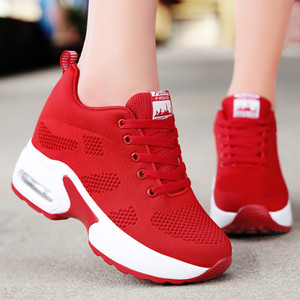 WADNASO volant Tricot Mode Chaussures Femmes Talons Masquer Chaussures Casual respirante Plate-forme Sneakers Wedge Chaussures blanches XZ120 CJ191228