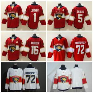Nuevo estilo Florida Panthers Hockey 1 Roberto Luongo Jersey Home Rojo blanco en blanco 5 Aaron Ekblad 16 Aleksander Barkov Jerseys cosido C Parche