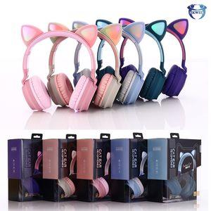 Glowing Cat Ear Auricolare Bluetooth Wireless Headphones Bluetooth Stereo Earphones fascia per Samsung Huawei LG Smartphone