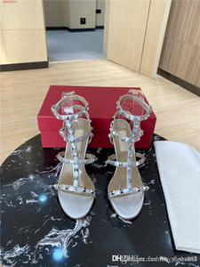 Summer fashion high heel sandals Rivet tri-loop strap for women with round head and exposed high heel sandals size 34-40
