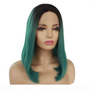 L Short Bob Straight Ombre Lace Front Wig Black Ombre Green Natural Soft Fiber Hair Middle Part Heat Resistant Synthetic Wigs For Women