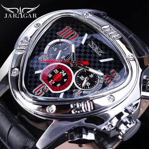 JARAGAR Sport Racing Design Geometrische Dreieck Pilot echtes Leder-Mann-mechanische Uhr-Spitzenmarken Luxus automatische Armbanduhr