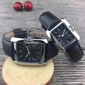 tanque clássico safira amantes quadrados de relógios famosos Paris Stylish luxo assistir Men mulheres 32mm qualidade 25 milímetros de quartzo de couro relógio Frete grátis