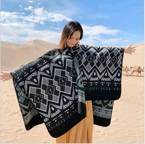 Yeni 2019 Ulusal rüzgar şal kadın pelerin kapüşonlu kalın sıcak seyahat eşarp kapüşonlu pelerin ceket 155 * 130 cm