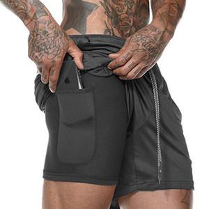 Shorts de course double taille grands maillots de course pour hommes, sport, pantalons sport, séchage rapide, respirant, fitness, couleur unie, cinq pantalons