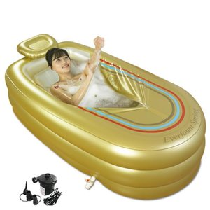 Extra Large Inflatable Bathtub Adult Thicken Folding Bathtub Home SPA Plastic Insulation With Cushion+Electric Pump