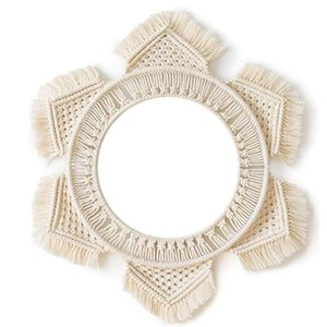 New Rattan Mirror Innovative Art Decoration Round Mirror Dressing Bathroom Primary Color Wicker Wall Hanging Mirror Dropshipping