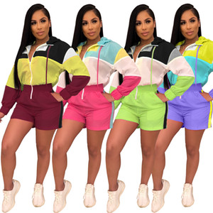 2019 Summer MultiColors Panelled Short Jumpsuits Long Sleeves Zipper V Neck Loose Casual Women Jumpsuits Shorts Sets 4 Styles Real Photos
