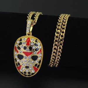 Exotic European and American hip hop necklace, painted facebook pendant necklace stainless steel Cuban chain free shipping