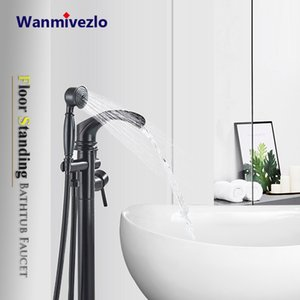 Black Bathtub Faucet Standing Bathroom Waterfall Mixer Tap Dual Handle With Handshower Floor Mounted Bath Shower Faucets