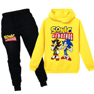 Pantalones Teenmiro de Sonic The Hedgehog de dibujos animados de moda ropa de los niños Conjunto con capucha para los trajes de los niños del resorte Niñas Niños Chándal