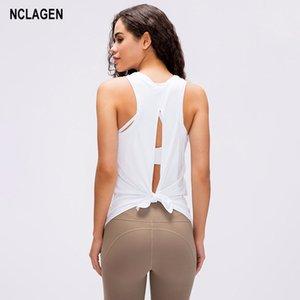 NCLAGEN Yoga Top Mulheres Camisa de esporte Open Back fitness roupas esportivas Active Gym Workout shirt fraco Activewear Dry Fit Regatas