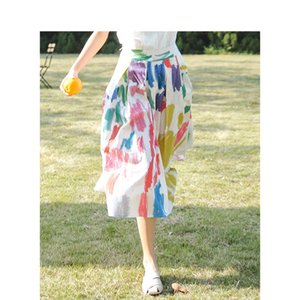 INMAN 2020 Summer New Arrival High Waist Colours Printed Retro Literary A-line Pleated Skirt